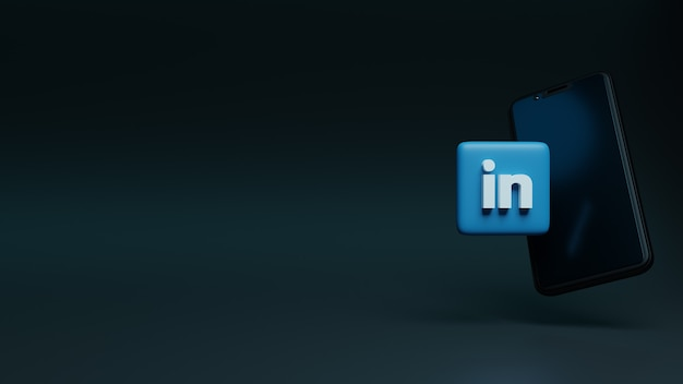 스마트폰 3d 렌더링 소셜 미디어 광고 위에 linkedin 로고 아이콘
