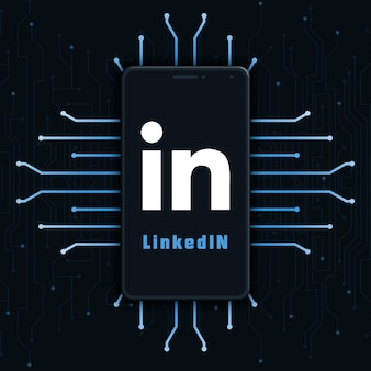 Linkedin logo icon on phone screen on technology background 3d