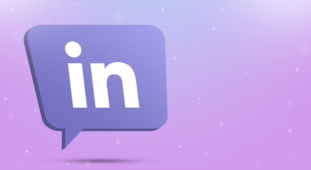 Linkedin logo icon on speech bubble 3d