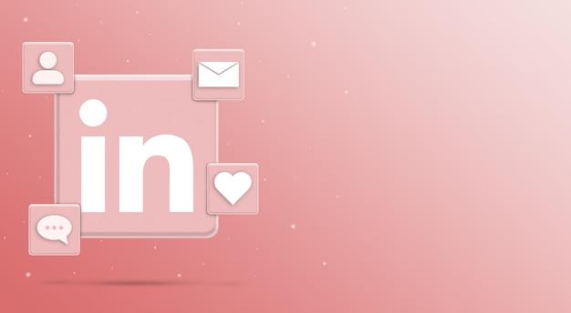 Значок логотипа linkedin с активностью 3 в социальных сетях