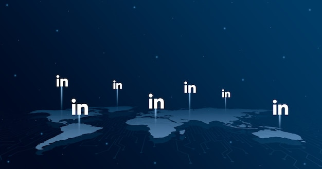 세계지도 3d의 모든 대륙에 linkedin 로고 아이콘