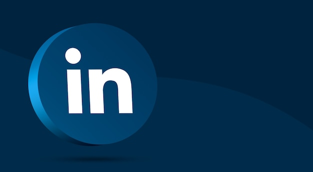 Минималистичный дизайн логотипа linkedin на круге 3d