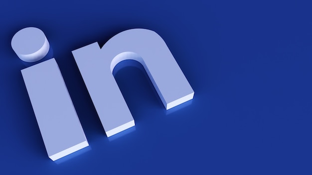 Linkedin logo minimal simple design template. copy space 3d