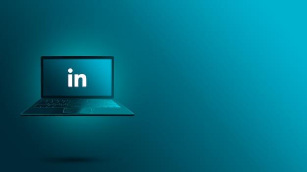 ノートパソコンの画面にlinkedinロゴ