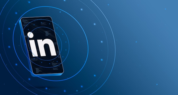 Логотип linkedin на телефоне с технологическим дисплеем, умный 3d-рендеринг