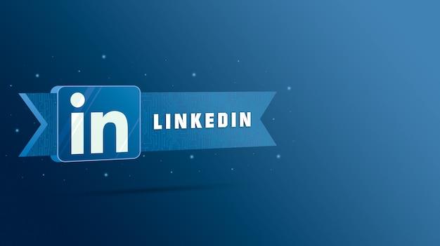 기술 플레이트에 비문이있는 linkedin 로고 3d