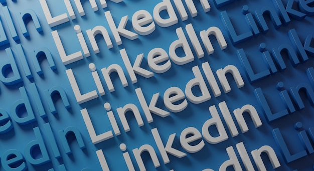 Linkedin несколько типография на синей стене, 3d-рендеринга