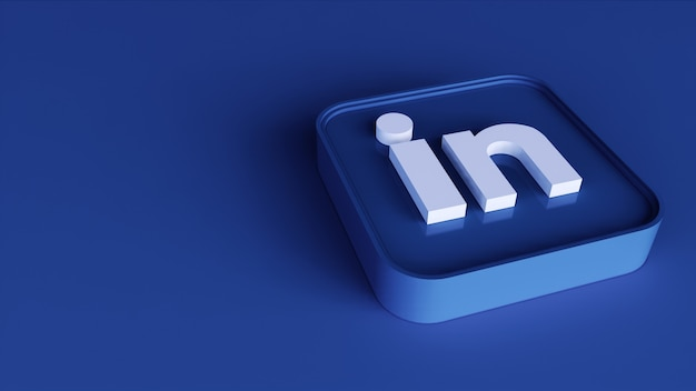 Linkedin square button icon 3d with copy space. 3d rendering
