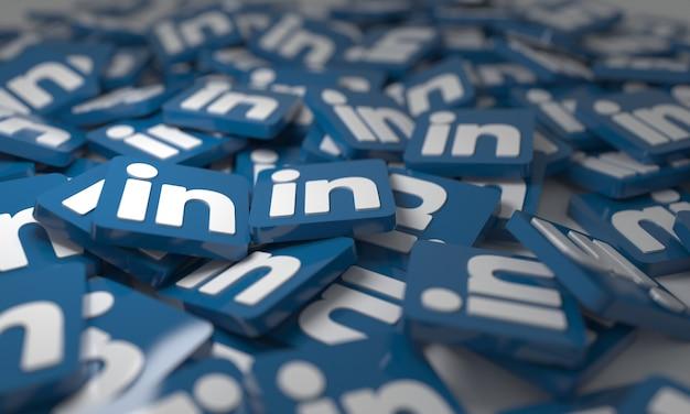 Linkedin stacked 3d isometric logos background  social network media symbol
