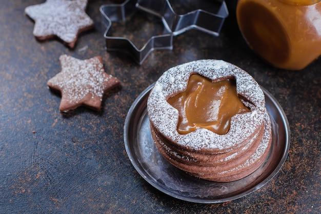 Linzer chocolate cookies