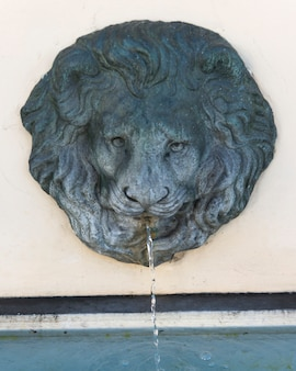 Lion head fountain carving on wall, campania, italy