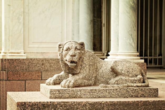 Lion sculpture. peterhof saint petersburg russia