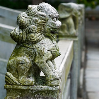 Lion statue on bridge in china
