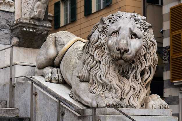 Lion statue in the cathedral of san lorenzo in genoa, italy