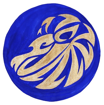 Lion zodiac symbol watercolor illustrationthe zodiac icon astrology raster image lion zodiac
