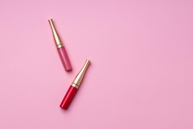 ピンクのリップメイクアップ商品クローズアップ