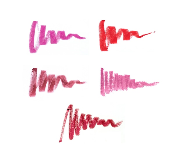 Lip pencil strokes in different shades on white