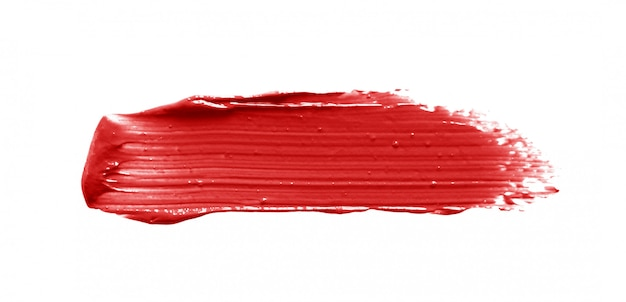 Lipstick brush stroke isolated on white