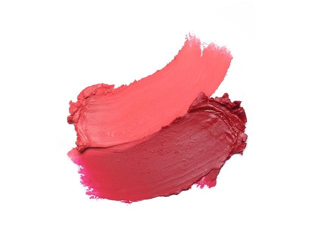 Lipstick brush strokes isolated on white