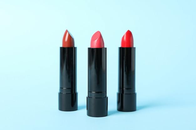 Lipstick on color background. cosmetics. female accessories