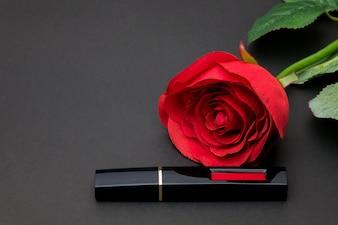 Lipstick item isolated on black background