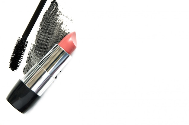 Lipstick and mascara. the concept of fashion and beauty industry.