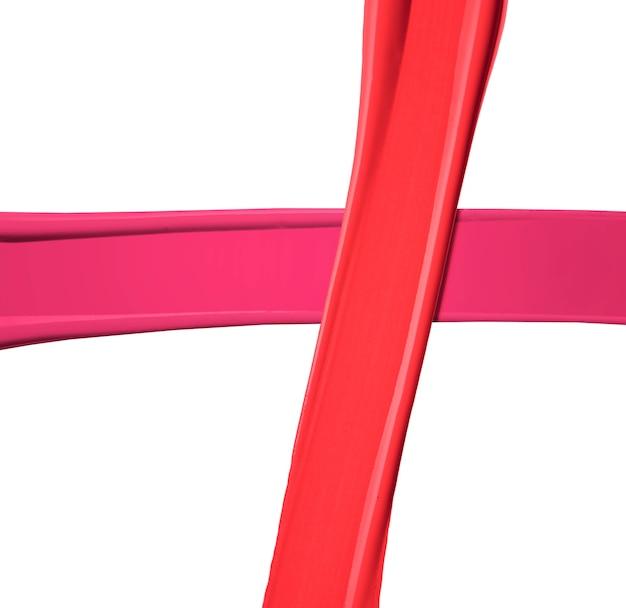 白い背景で隔離の口紅の赤とピンクの汚れ見本