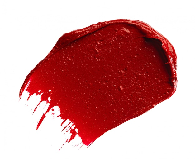 Lipstick smudge swatch isolated on white background