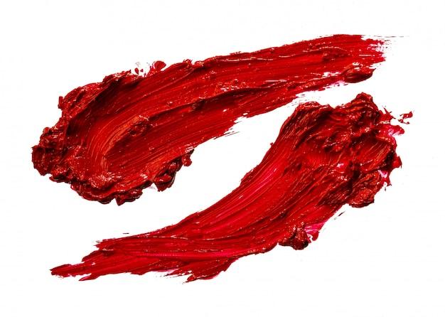 Lipstick swatch sample on white