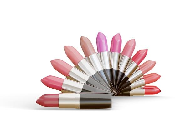 흰색에 고립 된 반원에 배열하는 다른 색상의 립스틱.