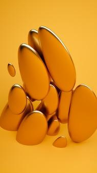 액체 추상 모양 3d 렌더링 그림. 굵은 노란색과 금색 재료.