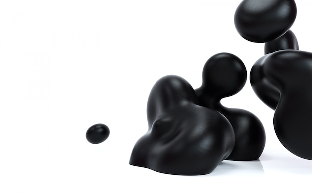 Liquid abstraction 3d rendering illustration. black smooth bubbles on isolated white background.