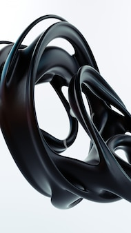 Liquid abstraction 3d rendering illustration. black smooth rubber material. matte plastic shape