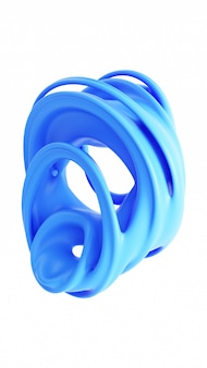 Liquid abstraction 3d rendering illustration. blue smooth rubber material. matte plastic shape