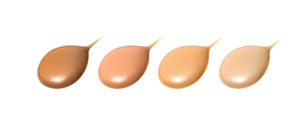 Liquid foundation in different shades isolated
