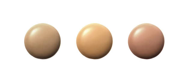 Liquid foundation in different shades on white