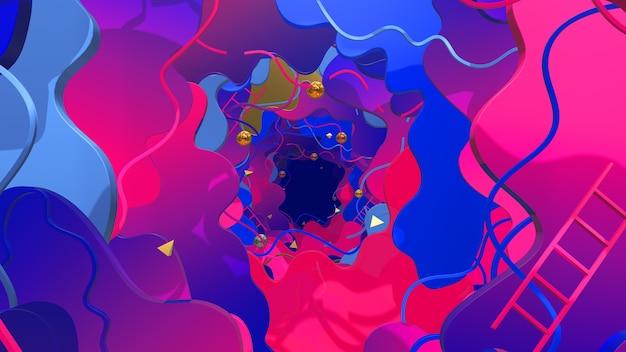 평면 아트 스타일 및 추상 장면의 벽지에 대한 3d 기하학 배경의 액체 스타일