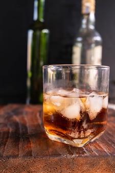Liquor glass on wooden table