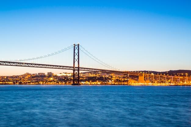 Lisbon bridge at dusk