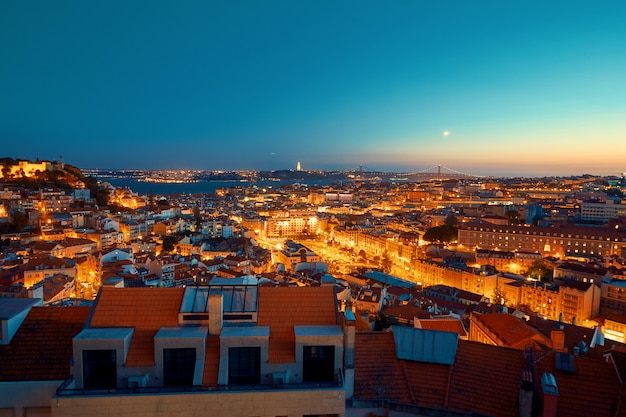 Lisbon lighted city at sunset