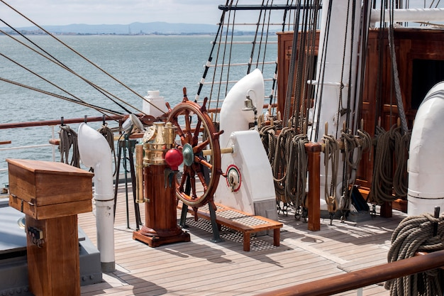 Lisbon, portugal: 22nd july, 2016 - tall ships race is a  big nautical event where big majestic ships with sails are presented to the public for visitation.