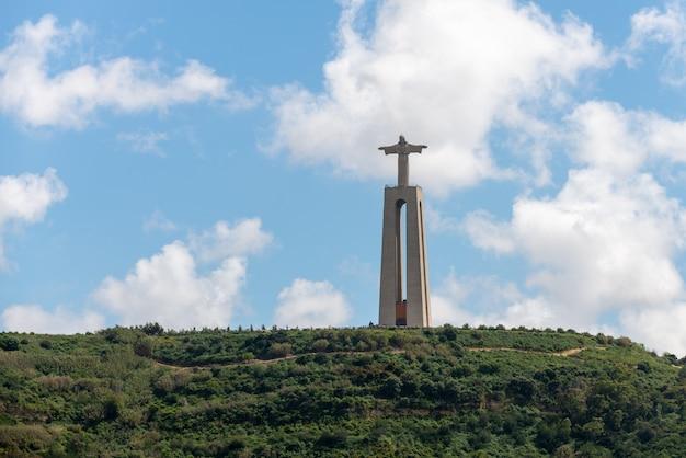 Lisbon, portugal april 18, 2019: the statue of jesus christ in lisbon, portugal