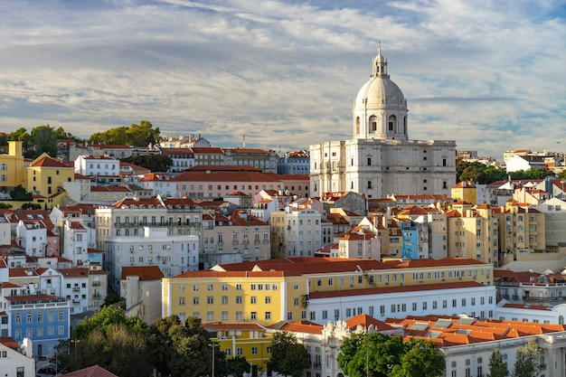 Lisbon, portugal skyline and citysc.ape of the cruise port on the tagus river.