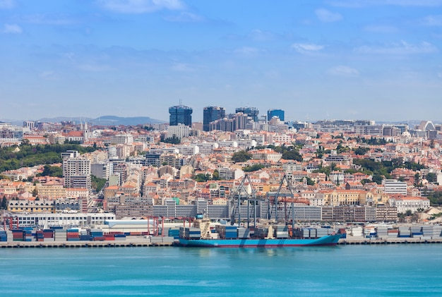 Lisbon on the tagus river bank, central portugal