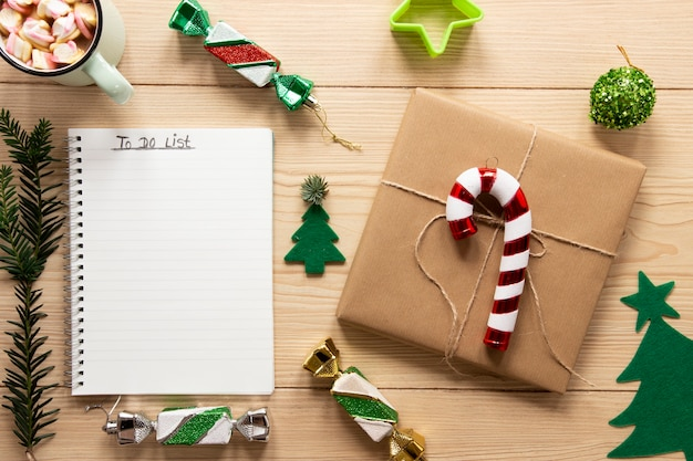 To do list mock-up with christmas decorations