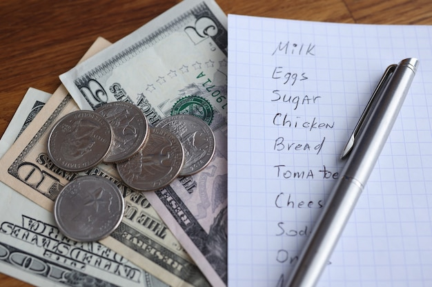 List of products pen and cash lie on table. shopping planning in grocery store concept