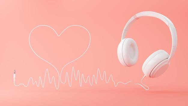 Слушайте музыку и белые наушники с сердцем кабеля звуковой волны на розовом