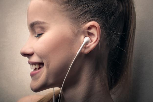 Listening to music in earphones