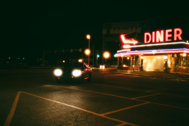 Lit diner place in the city at night
