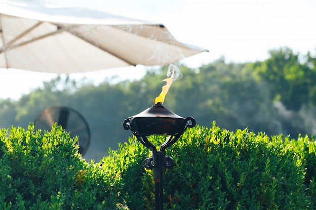 Lit torch with orange flame in garden used as mosquito repellent